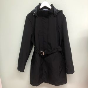 Calvin Klein Trench Coat with Belt: Black (PM527)